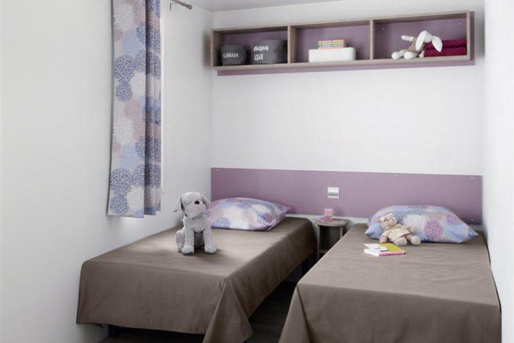 Mobil-home Cordelia chambre, Stacaravan Cordelia slaapkamer