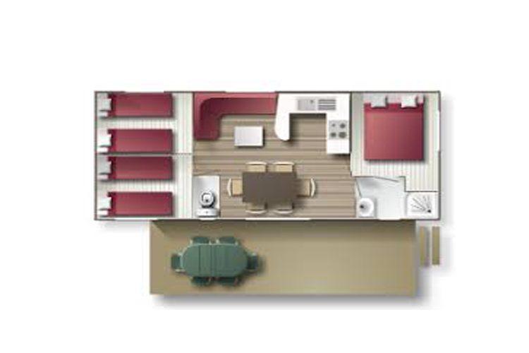 Plan du mobil-home Cordelia, overzicht van de stacaravan Cordelia